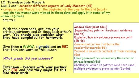 LO: To analyse Lady Macbeth LGs: I can – consider different aspects of Lady Macbeth (all) - compare Lady Macbeth at the beginning of the play to the end.