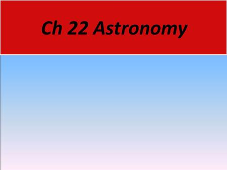 Ch 22 Astronomy. Ancient Greeks 22.1 Early Astronomy  Astronomy is the science that studies the universe. It includes the observation and interpretation.