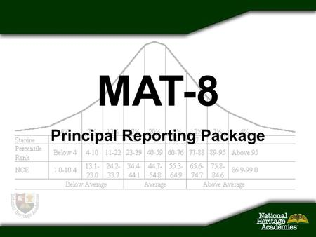Principal Reporting Package MAT-8. Issues What you've had –Standard hard copy reports from Harcourt What you've been missing –Data in a spreadsheet format.