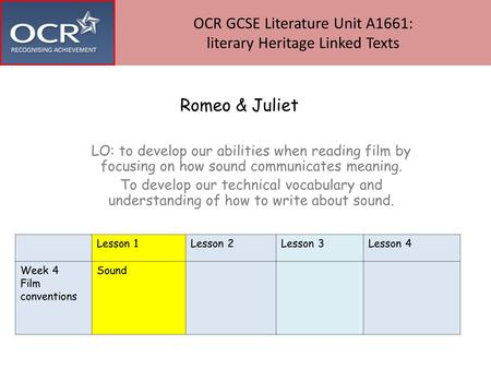 Romeo & Juliet LO: to develop our abilities when reading film by focusing on how sound communicates meaning. To develop our technical vocabulary and understanding.