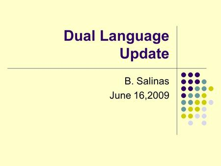 Dual Language Update B. Salinas June 16,2009. Dual Language Update 2008-2009 Currently SISD has a 2 way 50/50 program English and Spanish speaking students.