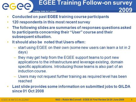 Enabling Grids for E-sciencE EGEE-III INFSO-RI-222667 EGEE Training Follow-on survey 2009 Conducted on past EGEE training course participants 120 respondents.