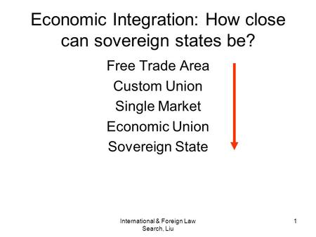 International & Foreign Law Search, Liu 1 Economic Integration: How close can sovereign states be? Free Trade Area Custom Union Single Market Economic.