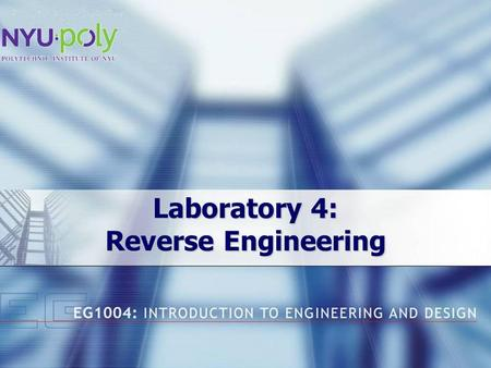 Laboratory 4: Reverse Engineering. Overview Objectives Concepts Materials Procedure Report / Recitation Closing.