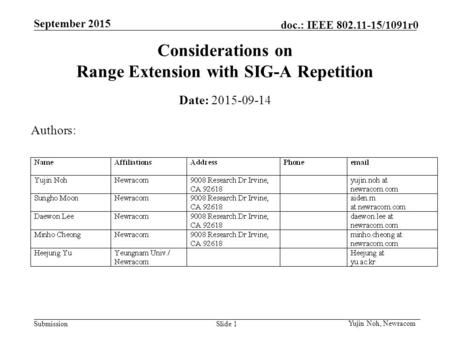 Submission September 2015 doc.: IEEE 802.11-15/1091r0 September 2015 Considerations on Range Extension with SIG-A Repetition Date: 2015-09-14 Authors: