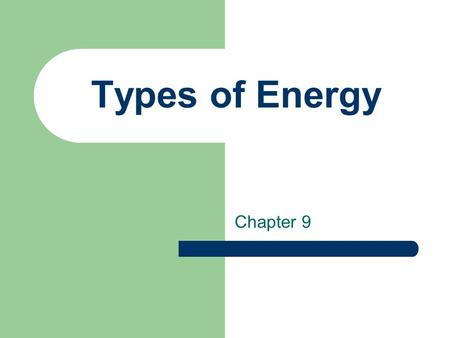 Types of Energy Chapter 9. What is Energy? Energy is the ability to do work.