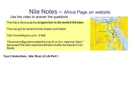 Nile Notes – Africa Page on website The Nile is famous as the longest river in the world 4184 miles. The river got its name from the Greek word Neilos.