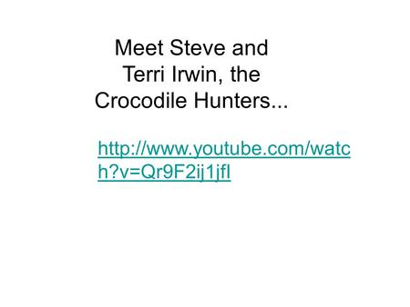 h?v=Qr9F2ij1jfI Meet Steve and Terri Irwin, the Crocodile Hunters...