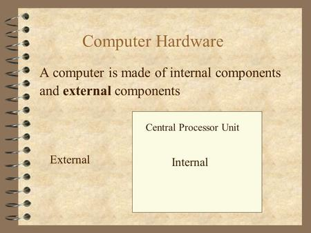 Computer Hardware A computer is made of internal components Central Processor Unit Internal External and external components.