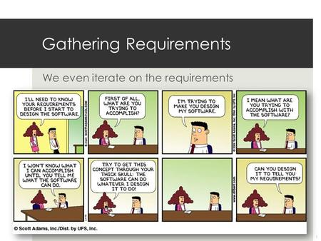 We even iterate on the requirements Gathering Requirements 1.