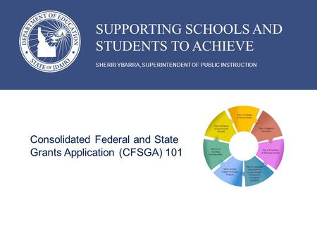 SHERRI YBARRA, SUPERINTENDENT OF PUBLIC INSTRUCTION SUPPORTING SCHOOLS AND STUDENTS TO ACHIEVE Consolidated Federal and State Grants Application (CFSGA)
