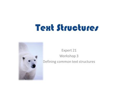 Text Structures Expert 21 Workshop 3 Defining common text structures.