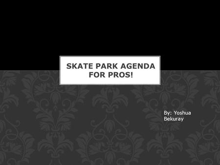By: Yoshua Bekuray. First you should skate around and get to know the park.