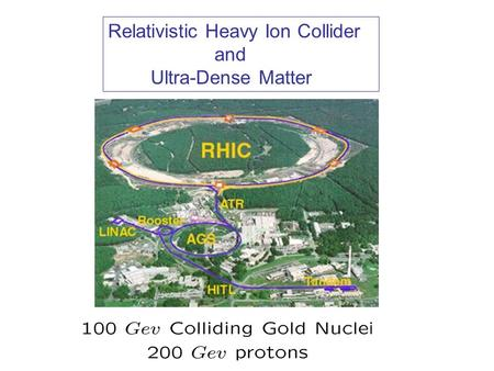 Relativistic Heavy Ion Collider and Ultra-Dense Matter.