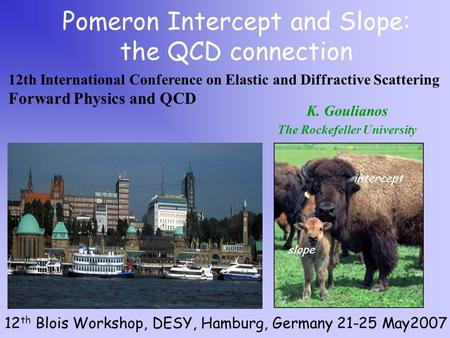 K. Goulianos The Rockefeller University Pomeron Intercept and Slope: the QCD connection 12 th Blois Workshop, DESY, Hamburg, Germany 21-25 May2007 intercept.