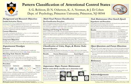 Pattern Classification of Attentional Control States S. G. Robison, D. N. Osherson, K. A. Norman, & J. D. Cohen Dept. of Psychology, Princeton University,