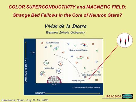 IRGAC 2006 COLOR SUPERCONDUCTIVITY and MAGNETIC FIELD: Strange Bed Fellows in the Core of Neutron Stars? Vivian de la Incera Western Illinois University.
