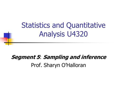 Statistics And Quantitative Analysis U Ppt Video Online Download