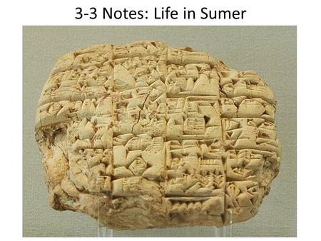 3-3 Notes: Life in Sumer. Sumerian Society As Sumerian society grew more complex, people divided themselves into social groups, or classes, based on wealth.