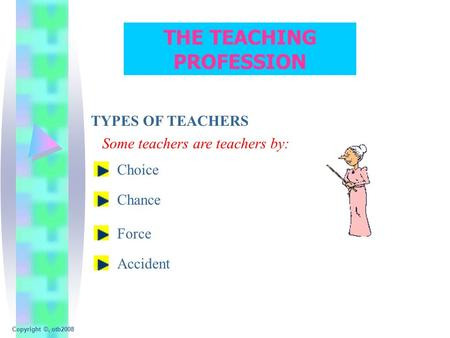 THE TEACHING PROFESSION TYPES OF TEACHERS Some teachers are teachers by: Choice Chance Force Accident Copyright ©, otb2008.
