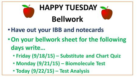 HAPPY TUESDAY Bellwork Have out your IBB and notecards On your bellwork sheet for the following days write… Friday (9/18/15) – Substitute and Chart Quiz.