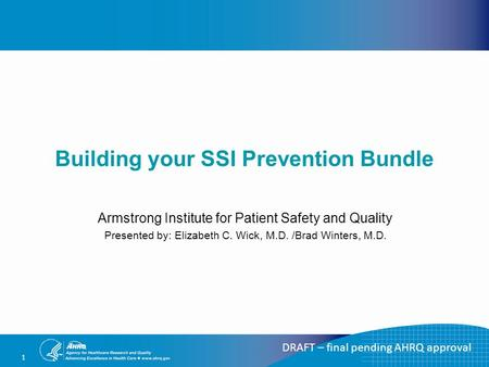 1 Building your SSI Prevention Bundle Armstrong Institute for Patient Safety and Quality Presented by: Elizabeth C. Wick, M.D. /Brad Winters, M.D. DRAFT.