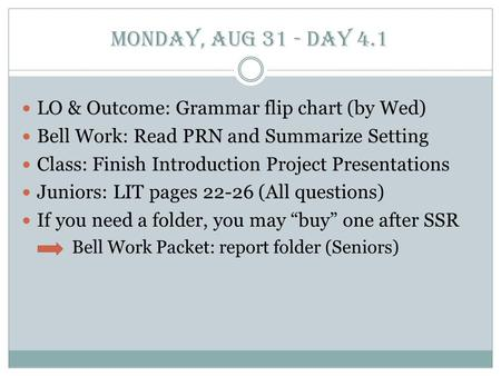 Monday, Aug 31 - Day 4.1 LO & Outcome: Grammar flip chart (by Wed) Bell Work: Read PRN and Summarize Setting Class: Finish Introduction Project Presentations.