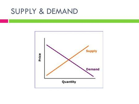 SUPPLY & DEMAND. Demand  Demand is the combination of desire, willingness and ability to buy a product. It is how much consumers are willing to purchase.
