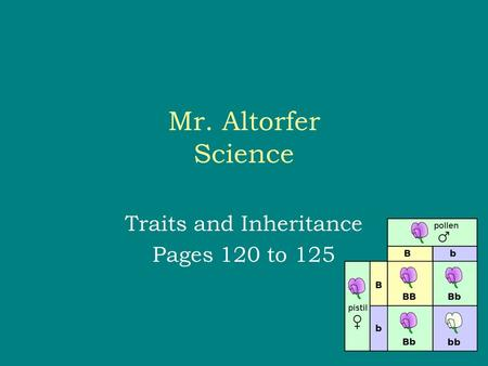 Mr. Altorfer Science Traits and Inheritance Pages 120 to 125.