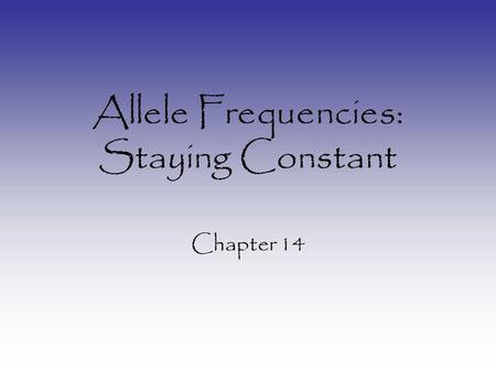 Allele Frequencies: Staying Constant Chapter 14. What is Allele Frequency? How frequent any allele is in a given population: –Within one race –Within.