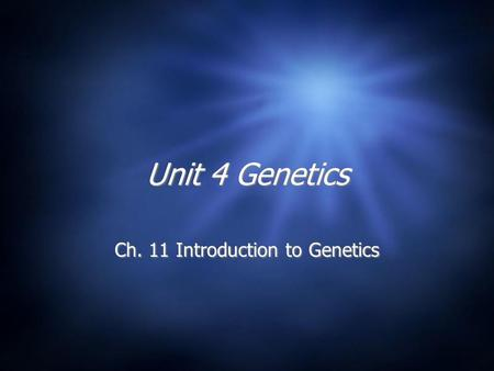 Ch. 11 Introduction to Genetics