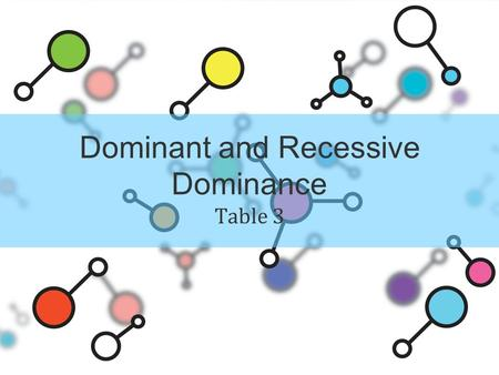 Dominant and Recessive Dominance Table 3. Alleles sequence of DNA any of several forms of a gene determine the genotype (genetic constitution of an organism.