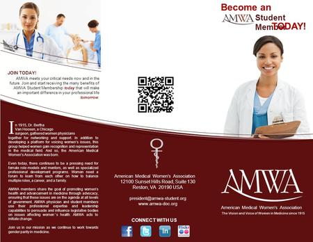 JOIN TODAY! AMWA meets your critical needs now and in the future. Join and start receiving the many benefits of AMWA Student Membership today that will.