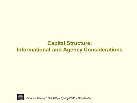 capital structure puzzle Keywords: capital structure, debt ratio, trade-off theory, fixed assets goodwill  assets  order theory and the trade-off theory explain the capital structure puzzle  in.
