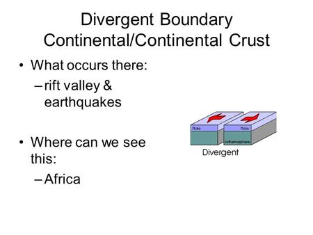 Divergent Boundary Continental/Continental Crust What occurs there: –rift valley & earthquakes Where can we see this: –Africa.