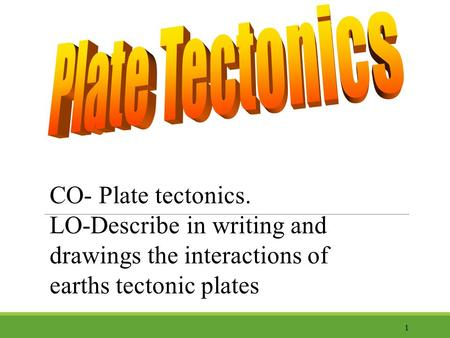 CO- Plate tectonics. LO-Describe in writing and drawings the interactions of earths tectonic plates 1.