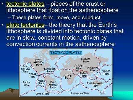 Tectonic plates – pieces of the crust or lithosphere that float on the asthenosphere –These plates form, move, and subduct plate tectonics– the theory.
