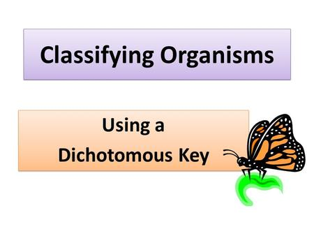Classifying Organisms Using a Dichotomous Key Using a Dichotomous Key.