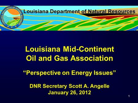"Louisiana Department of Natural Resources Louisiana Mid-Continent Oil and Gas Association ""Perspective on Energy Issues"" DNR Secretary Scott A. Angelle."
