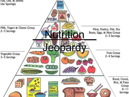 __Nutrition__ Jeopardy. OverviewGrainsVegetablesFruitsMilk, Meat, and Beans 10 20 30 40 50 Jeopardy!