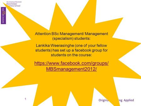 Attention BSc Management/ Management (specialism) students: Lankika Weerasinghe (one of your fellow students) has set up a facebook group for students.