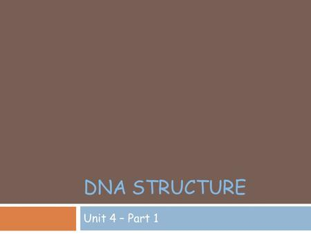 DNA Structure Unit 4 – Part 1.
