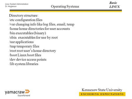 E X C E E D I N G E X P E C T A T I O N S Basic LINUX Linux System Administration Dr. Hoganson Kennesaw State University Operating Systems Directory structure:
