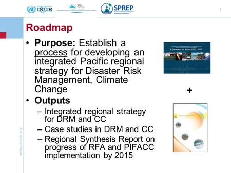 Www.unisdr.org 1 Roadmap Purpose: Establish a process for developing an integrated Pacific regional strategy for Disaster Risk Management, Climate Change.