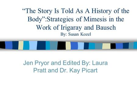 """The Story Is Told As A History of the Body"":Strategies of Mimesis in the Work of Irigaray and Bausch By: Susan Kozel Jen Pryor and Edited By: Laura Pratt."
