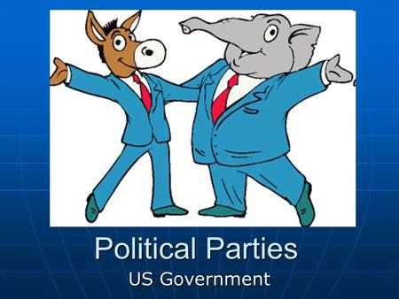 Political Parties US Government. Political Parties Political organizations that seek influence and power over the government. Political organizations.