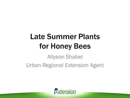 Late Summer Plants for Honey Bees Allyson Shabel Urban Regional Extension Agent.