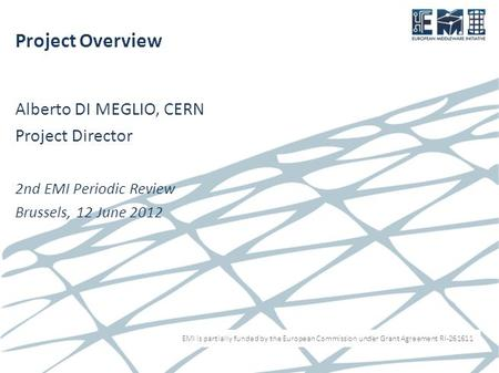 EMI is partially funded by the European Commission under Grant Agreement RI-261611 Project Overview Alberto DI MEGLIO, CERN Project Director 2nd EMI Periodic.