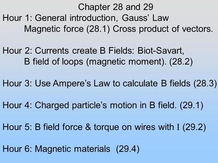 Chapter 28 and 29 Hour 1: General introduction, Gauss' Law Magnetic force (28.1) Cross product of vectors. Hour 2: Currents create B Fields: Biot-Savart,