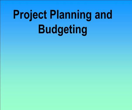 Project Planning and Budgeting Recall the four stages Project Definition and Conceptualization Project Planning and Budgeting Project Execution and Control.